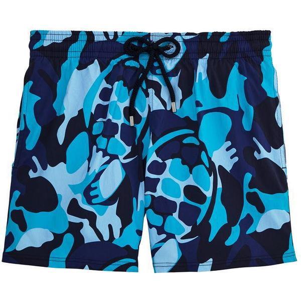 Vilebrequin Moorise Camouflage Turtles Superflex Swim Shorts Azure