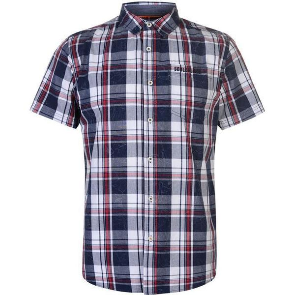 SoulCal Short Sleeve Check Shirt Navy/White/Red