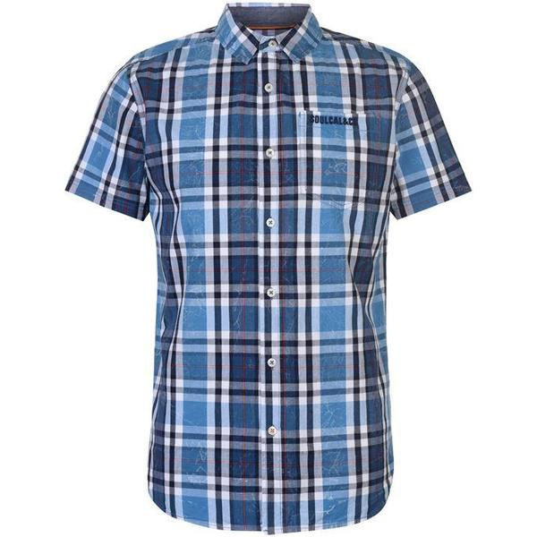 SoulCal Short Sleeve Check Shirt Royal/Navy/White