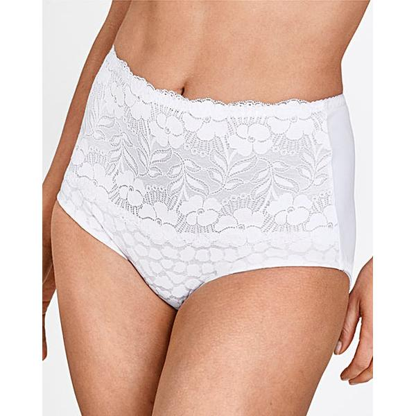 Miss Mary of Sweden Lovely Jaquard and Lace Panty Girlde White (4166)