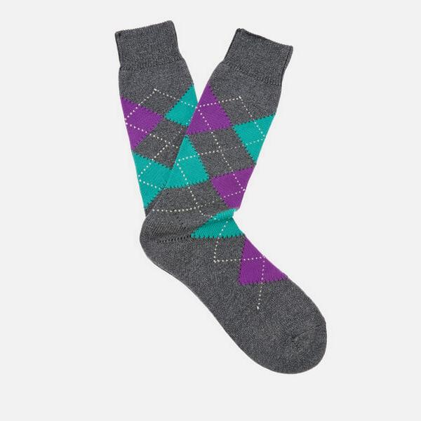 Pantherella Turnmill Argyle Egyption Socks Dark Grey