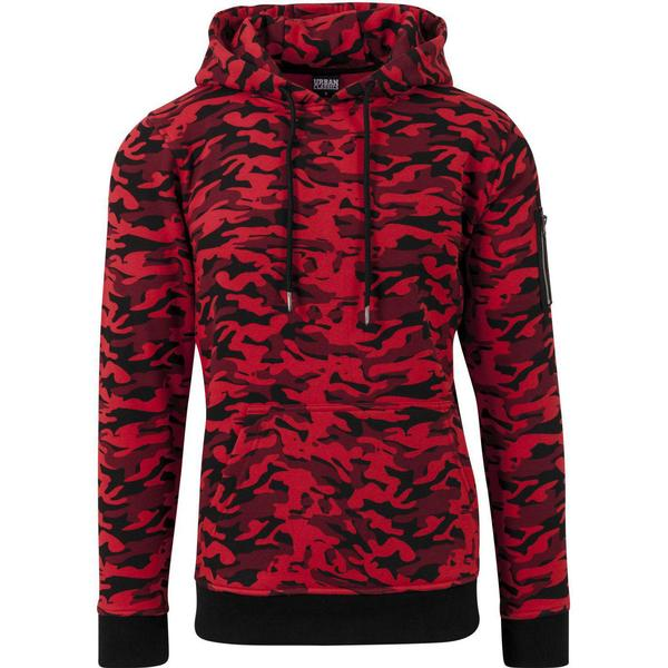Urban Classics Sweat Camo Bomber Hoody - Red Camo