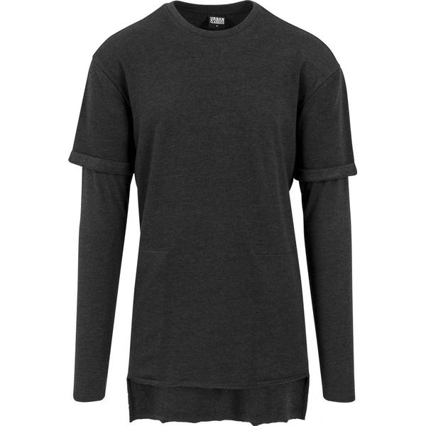 Urban Classics Long 2 in 1 Terry Crew T-shirt - Charcoal
