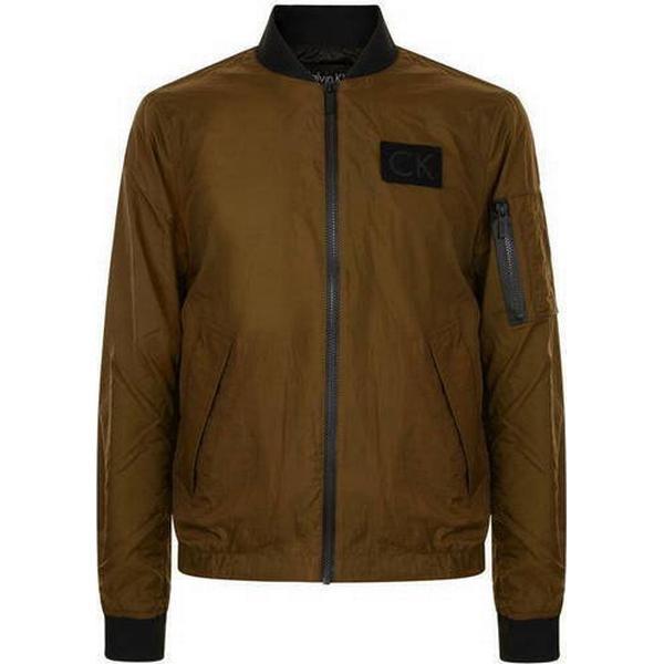 Calvin Klein Crinkle Nylon Bomber Jacket Buckthorn Brown