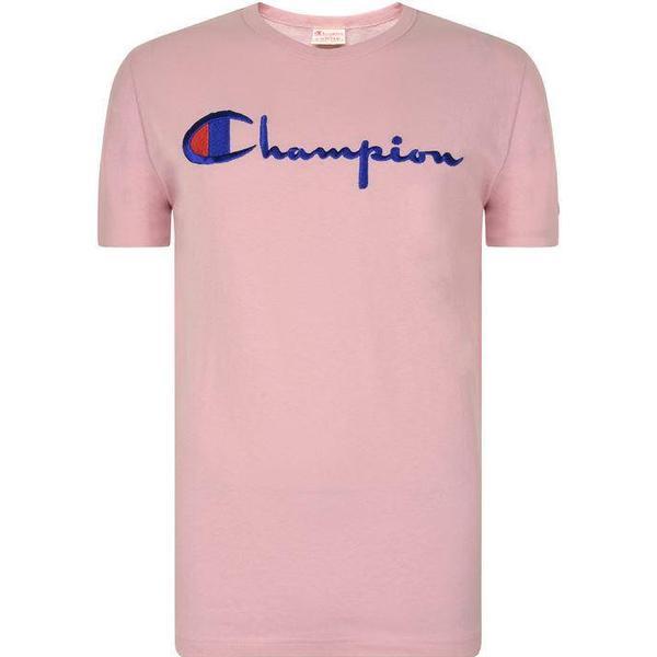 Champion Script Logo Crew Neck T-Shirt Pink