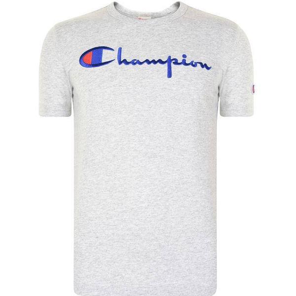 Champion Script Logo Crew Neck T-Shirt Light Grey