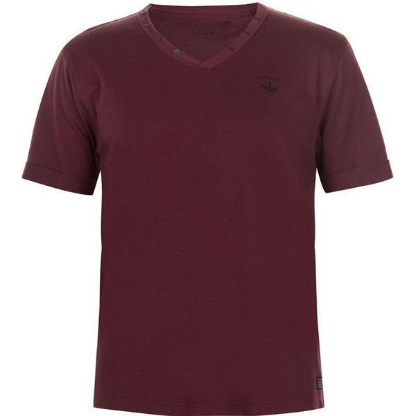 Firetrap Striding V Neck T-shirt Burgundy