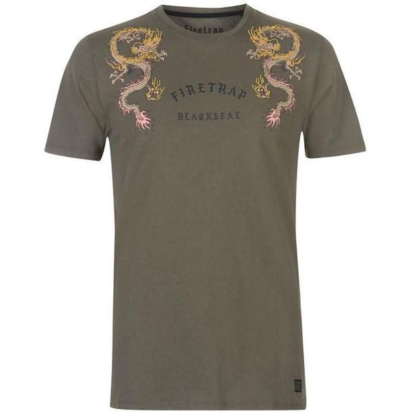 Firetrap Embroided T-shirt Khaki