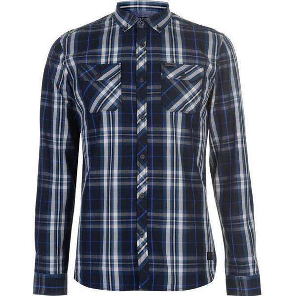 Firetrap Blackseal Long Sleeve Checked Shirt Navy/Blue (55829359)