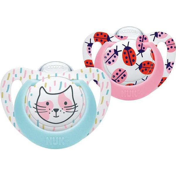 Nuk Ladybird & Cat Silicone Soothers 0-6mths 2-pack