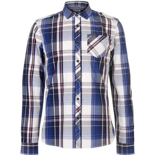 Firetrap Blackseal Lightweight Checked Shirt Blue/Burg