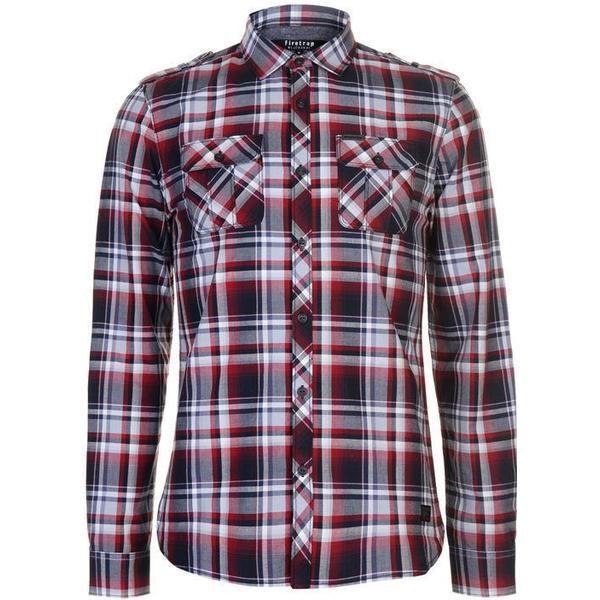 Firetrap Blackseal Long Sleeve Checked Shirt Red