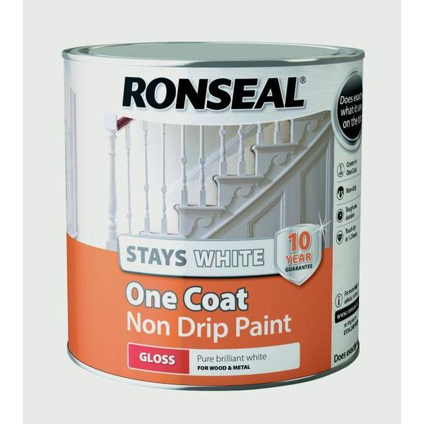 Ronseal Stays White One Coat Non Drip Wood Paint White 2.5L