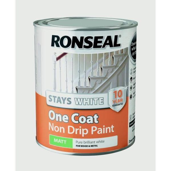 Ronseal Stays White One Coat Non Drip Wood Paint White 0.75L