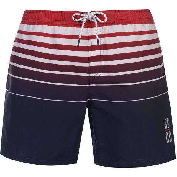 SoulCal Deluxe Stripe Swim Shorts - Navy/Red