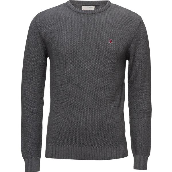 Knowledge Cotton Apparel Basic Knit Sweatshirt - Dark Grey Melange