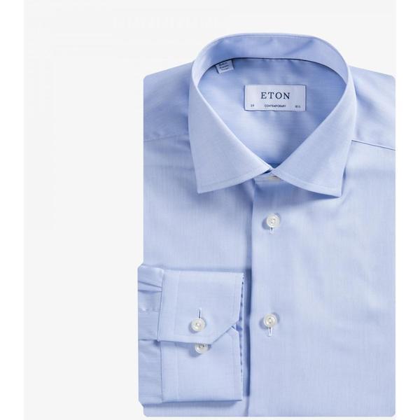 Eton Signature Twill Shirt Light Blue