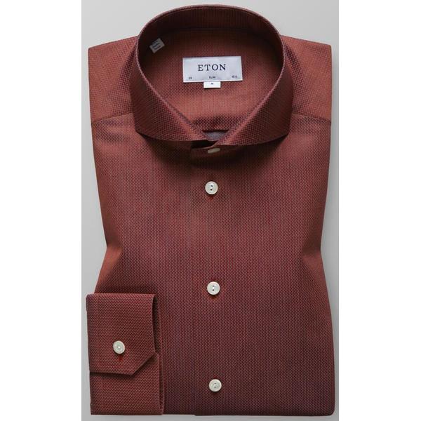 Eton Micro Weave Shirt Red