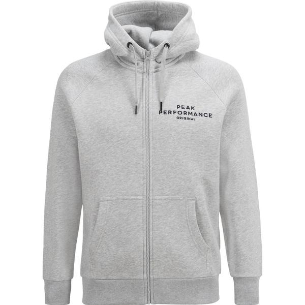 Peak Performance Logo Zip Hood - Med Grey Mel
