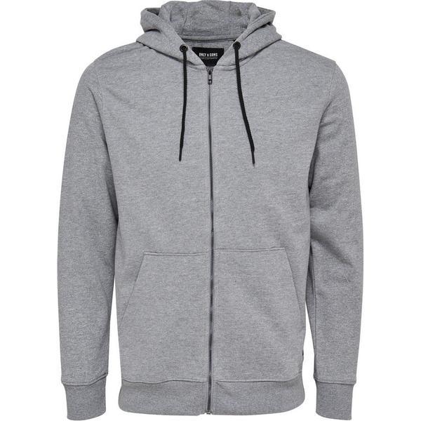 Only & Sons Sweat Hoodie Jacket Grey/Light Grey Melange