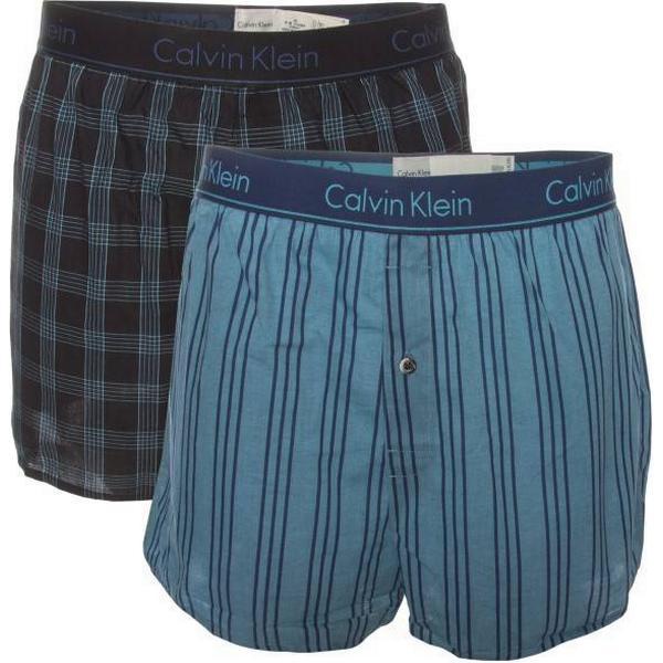 Calvin Klein Slim Fit Woven Boxer 2-pack - Black/Blue