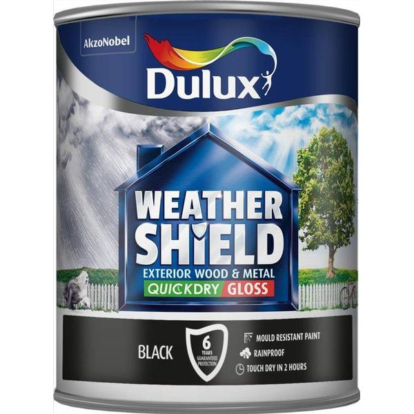 Dulux Weathershield Quick Dry Exterior Wood Paint, Metal Paint Black 0.75L