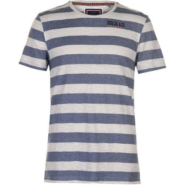 SoulCal Stripe T-shirt White/Navy M
