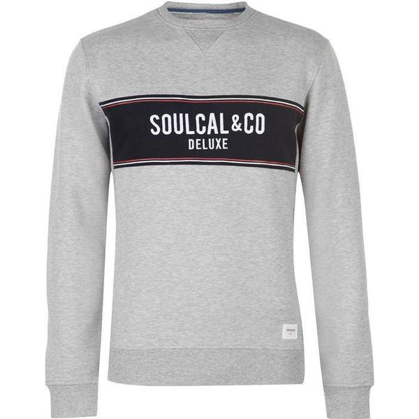 SoulCal Deluxe Panel Crew Neck Sweatshirt Grey Marl