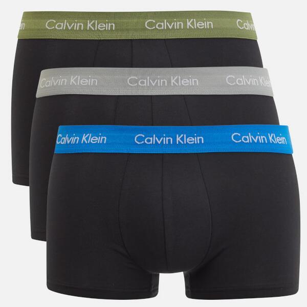 Calvin Klein Low Rise Trunks Cotton Stretch 3-pack - Black W/Olivine/- Black W/Skyview/Blac