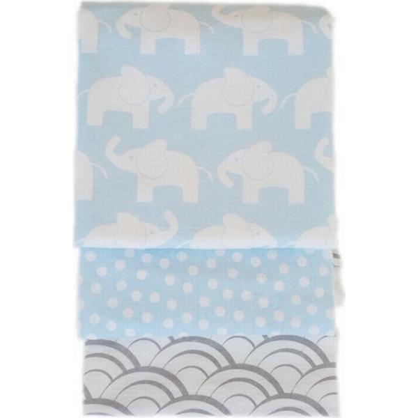 Rätt Start Flanellfiltar Elephant 50X50cm 3-pack