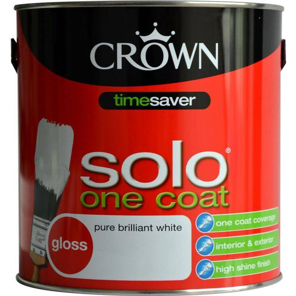 Crown Solo One Coat Wood Paint, Metal Paint White 2.5L
