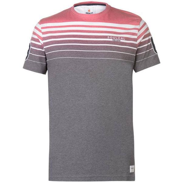 SoulCal Deluxe Stripe T Shirt Red/Navy