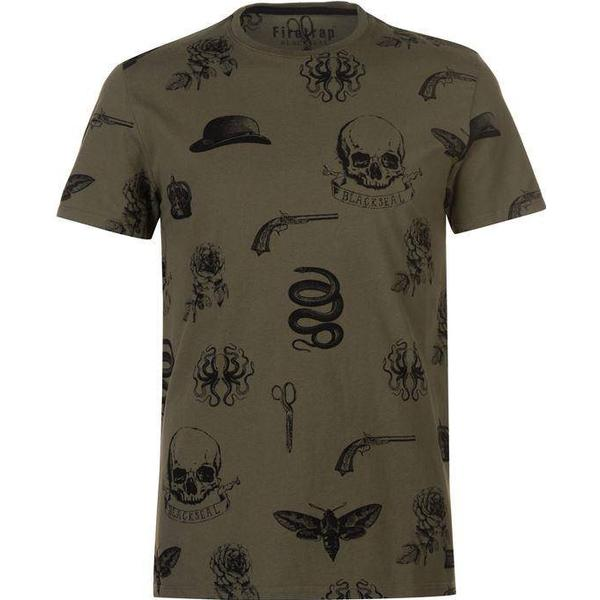 Firetrap All Over Printed T-shirt Khaki