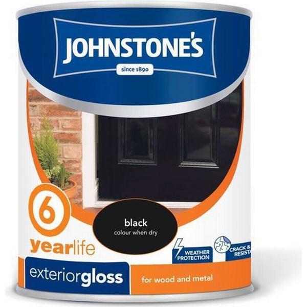 Johnstones Weatherguard 6 Year Exterior Gloss Wood Paint, Metal Paint Black 0.75L