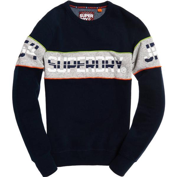 Superdry Retro Stripe Crew Sweatshirt Three Pointer - Navy