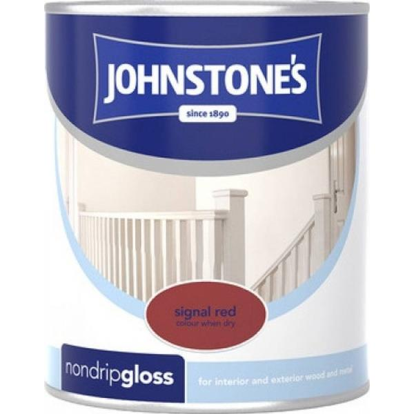 Johnstones Non Drip Gloss Wood Paint, Metal Paint Red 0.75L