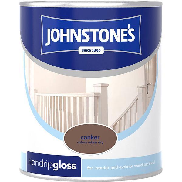 Johnstones Non Drip Gloss Wood Paint, Metal Paint Brown 0.75L