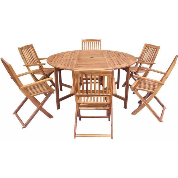 vidaXL 42534 Havemøbelsæt, 1 borde inkl. 6 stole
