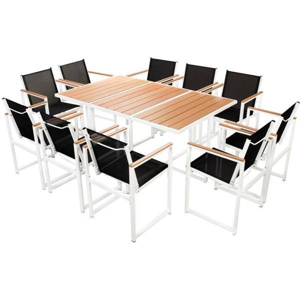 vidaXL 42808 Havemøbelsæt, 1 borde inkl. 10 stole