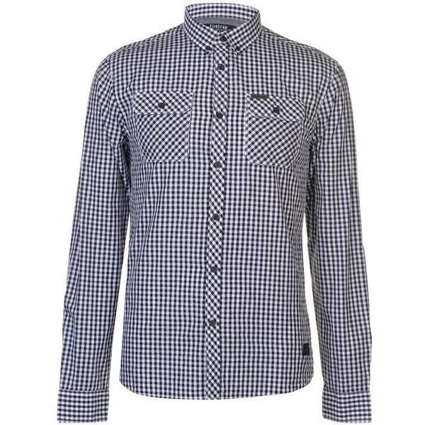 Firetrap Blackseal Gingham Shirt White/Navy