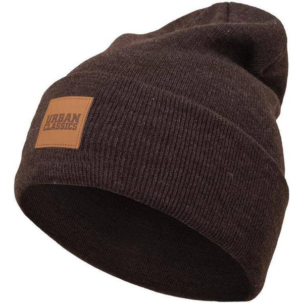 Urban Classics Leatherpatch Long Beanie - Heatherbrown