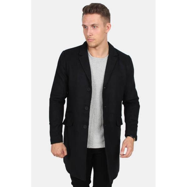 Only & Sons Julian Solid Wool Coat - Black