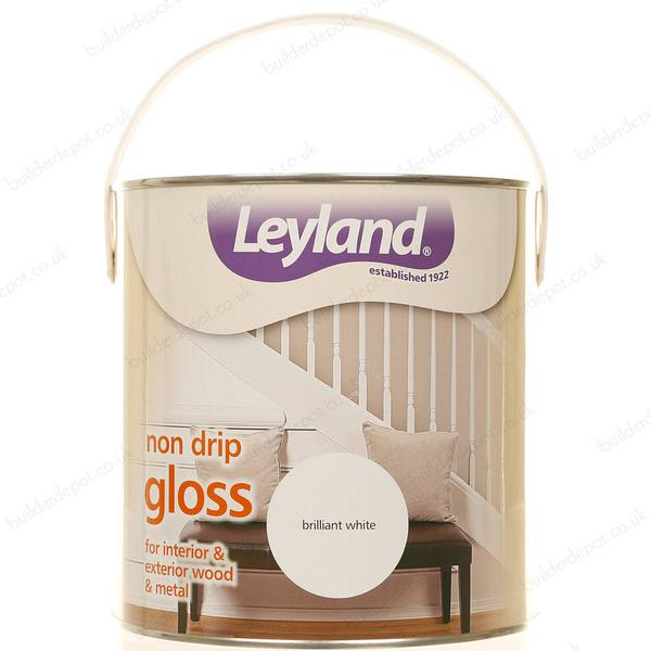 Leyland Trade Non Drip Gloss Wood Paint, Metal Paint White 2.5L