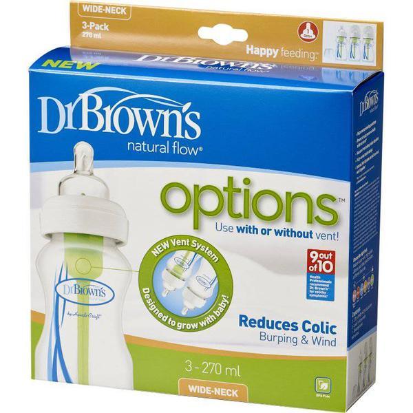 Dr. Brown's Natural Flow Options Wide Neck Bottle 270ml 3-pack