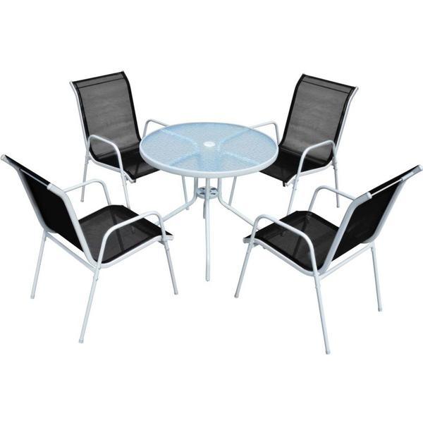 vidaXL 43317 1 Table incl. 4 Chairs Havemøbelsæt, 1 borde inkl. 4 stole