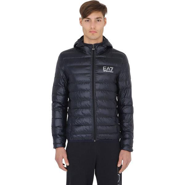 Emporio Armani Tain Core Hooded Light Down Jacket - Navy