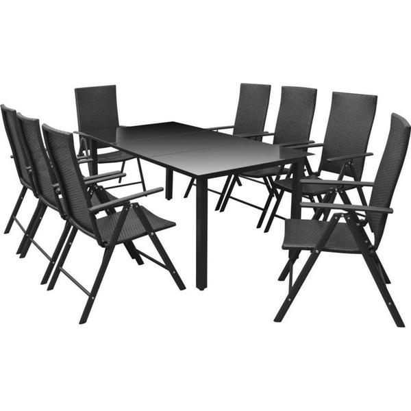 vidaXL 42777 Havemøbelsæt, 1 borde inkl. 8 stole