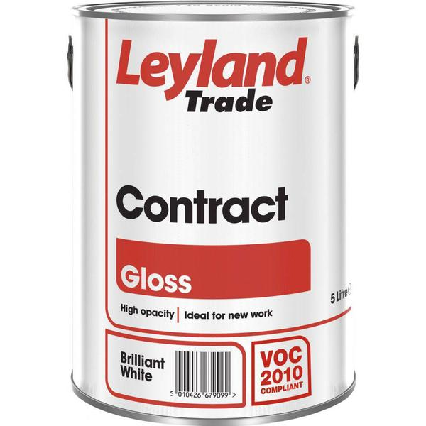 Leyland Trade Contract Gloss Wood Paint, Metal Paint White 5L