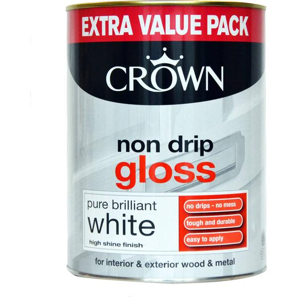 Crown Non Drip Gloss Wood Paint, Metal Paint White 1.25L