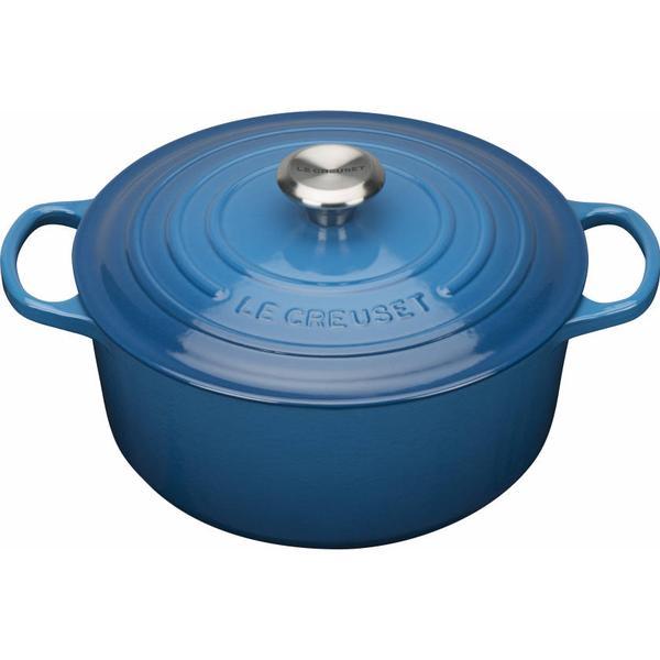 Le Creuset Marseille Blue Signature Cast Iron Round Other Pots with lid 20cm